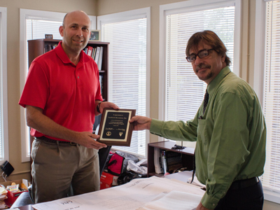Matt Connolly, President, Landtech Resources Inc. in Williamsburg, graciously accepted the CSIIP plaque on behalf of his wife, Lisa, who hired three interns this year.