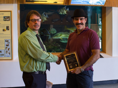 Paul Panetta of Applied Research Associates in Gloucester, accepted the CSIIP plaque with a smile and gave a tour of the Virginia Institute of Marine Science where the engineering internship was located.